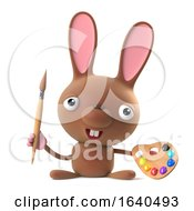 3d Cute Cartoon Bunny Rabbit Holding An Artist Paintbrush And Palette