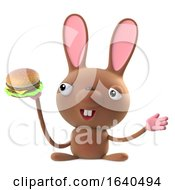 Poster, Art Print Of 3d Cute Easter Bunny Rabbit Eating A Beef Burger