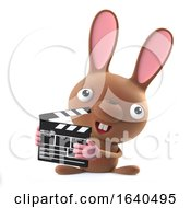 Poster, Art Print Of 3d Cute Cartoon Easter Bunny Rabbit Is Making A Movie