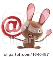 Poster, Art Print Of 3d Cute Cartoon Easter Bunny Rabbit Has An Email Address Symbol