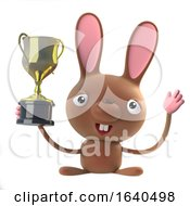 Poster, Art Print Of 3d Cute Cartoon Easter Bunny Rabbit Wins The Gold Cup Trophy