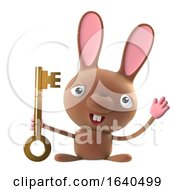 Poster, Art Print Of 3d Funny Cartoon Easter Bunny Rabbit Character Has A Gold Key
