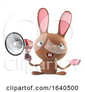 3d Cute Cartoon Easter Bunny Rabbit Using A Loudhailer