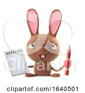 Poster, Art Print Of 3d Cute Cartoon Easter Bunny Rabbit Character With A Notepad And Pencil