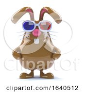 Poster, Art Print Of 3d Chocolate Bunny Watches A 3d Movie