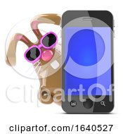 Poster, Art Print Of 3d Chocolate Easter Bunny Behind Smart Phone
