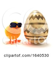Funny Cartoon 3d Easter Chick Next To A Giant Gold Easter Egg