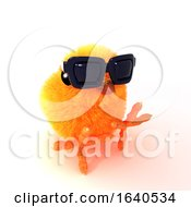 3d Chick In Sunglasses Sits On The Floor