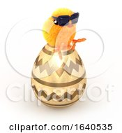 Poster, Art Print Of Funny Cartoon 3d Easter Chick Sitting On A Giant Gold Easter Egg