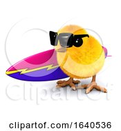 Poster, Art Print Of Funny Cartoon 3d Easter Chick Carrying A Surfboard
