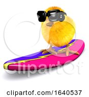 3d Easter Chick Surfing