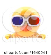 Poster, Art Print Of Chick In 3d Glasses Looks Over The Top