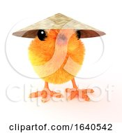 Funny Cartoon 3d Easter Chick Wearing An Oriental Coolie Hat