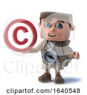 3d Funny Cartoon Hiker Characte Holding A Copyright Symbol