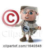 3d Funny Cartoon Hiker Characte Holding A Copyright Symbol
