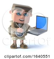 3d Hiker And Laptop