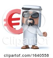 3d Arab Sheik Holds A Euro Currency Symbol by Steve Young