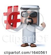 3d Funny Cartoon Arab Man Character Holding A Hashtag Symbol by Steve Young