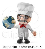 3d Funny Cartoon Italian Pizza Chef Holding A Globe Of The Earth by Steve Young