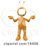 Yellow Person With A Tv Monitor As A Head Shrugging