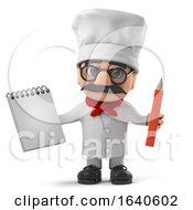 3d Funny Italian Pizza Chef Character Has A Notepad And Pencil by Steve Young