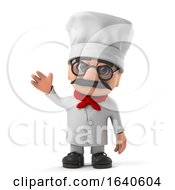 3d Funny Italian Pizza Chef Character Waves Hello by Steve Young