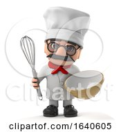 3d Funny Cartoon Old Chef Character Has A Whisk And Bowl To Bake A Cake