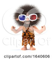 3d Savage Caveman Wearing 3d Glasses
