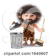 3d Funny Caveman Takes Out The Trash