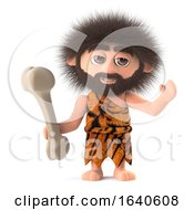 3d Funny Caveman Holding A Dinosaur Bone