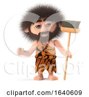 3d Funny Cartoon Savage Caveman Character Holding A Broom