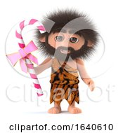 3d Crazy Hairy Caveman Holding A Stick Of Candy