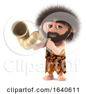 3d Funny Caveman Blows His Horn