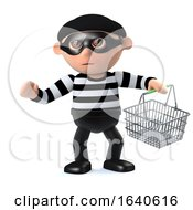 3d Burglar Goes Shoplifting With Shopping Basket by Steve Young