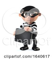 3d Funny Burglar Character Has Snatched Someones Briefcase by Steve Young