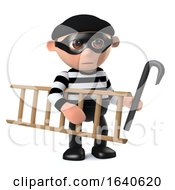 3d Funny Burglar Takes His Ladder And Crowbar To Work With Him by Steve Young