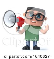 3d Boy In Glasses Using A Megaphone