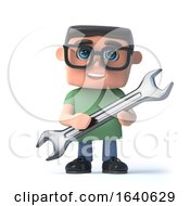 Poster, Art Print Of 3d Boy In Glasses Holding A Spanner