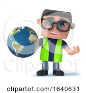 3d Health And Safety Officer Holding A Globe Of The Earth