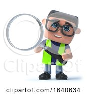 3d Health And Safety Man Using A Magnifying Glass