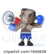 3d Black Boxer Shouts Through A Megaphone
