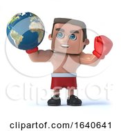 3d Boxer Holds Up A Globe Of The Earth