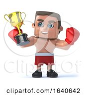 3d Boxer Hold Up His Champion Gold Cup Trophy by Steve Young