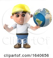 Poster, Art Print Of 3d Construction Worker Holds The World In His Hands