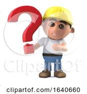 Poster, Art Print Of 3d Construction Worker Has A Question
