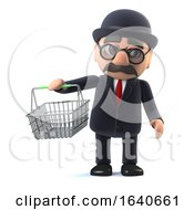 3d Bowler Hatted British Businessman Goes Shopping