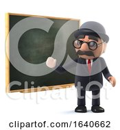 3d Bowler Hatted British Businessman At The Blackboard