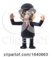 3d Bowler Hatted British Businessman Cheers