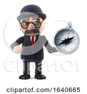 3d Bowler Hatted British Businessman Navigates With A Compass