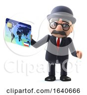3d Bowler Hatted British Businessman Pays By Debit Card by Steve Young